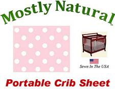 Portable Crib Sheet Fitted Pastel Pink Polka Dots Cotton Woven