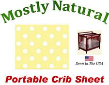 Portable Crib Sheet Fitted Pastel Yellow Polka Dots Cotton Woven