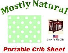 Portable Crib Sheet Fitted Pastel Green Polka Dots Cotton Woven