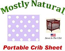 Portable Crib Sheet Fitted Pastel Lavender Polka Dots Cotton Woven