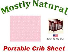 Portable Crib Sheet Fitted Pastel Pink Pindots Cotton Woven