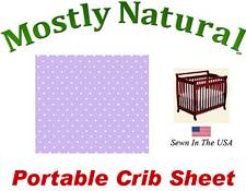 Portable Crib Sheet Fitted Pastel Lavender Pindots Cotton Woven