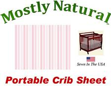 Portable Crib Sheet Fitted Pastel Pink Pinstripe Cotton Woven