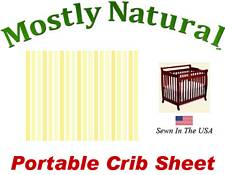 Portable Crib Sheet Fitted Pastel Yellow Pinstripe Cotton Woven