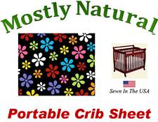 Portable Crib Sheet Fitted Primary Colorful On Black Floral Cotton Woven
