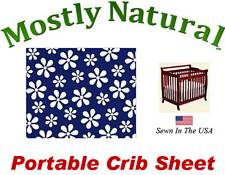 Portable Crib Sheet Fitted Primary Navy Floral Cotton Woven