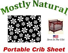 Portable Crib Sheet Fitted Primary Black Floral Cotton Woven