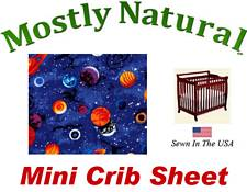 Mini Crib Sheet Fitted Planets Cotton Percale