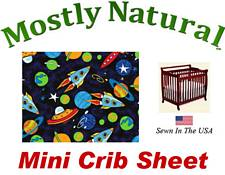 Mini Crib Sheet Fitted Space Cotton Percale