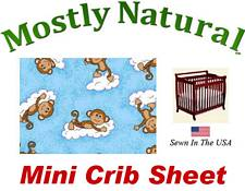 Mini Crib Sheet Fitted Monkeys Blue Cotton Percale