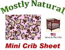 Mini Crib Sheet Fitted Monkeys Pink Cotton Percale