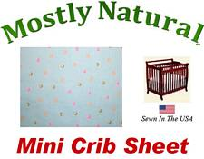 Mini Crib Sheet Fitted Colorful Dots On Mint Cotton Percale