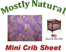 Mini Crib Sheet Fitted Fairies And Butterflies Purple Cotton Percale