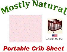 Portable Crib Sheet Fitted Pastel Colorful Pindots Pink Cotton Woven