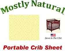 Portable Crib Sheet Fitted Pastel Colorful Pindots Yellow Cotton Woven