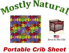 Portable Crib Sheet Fitted Primary Puzzle Cotton Woven