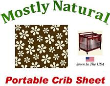 Portable Crib Sheet Fitted Cream Floral Brown Cotton Woven
