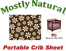 Portable Crib Sheet Fitted Pink Floral Brown Cotton Woven