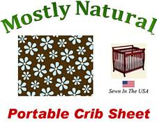 Portable Crib Sheet Fitted Blue Floral Brown Cotton Woven