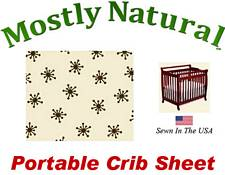 Portable Crib Sheet Fitted Brown Snowflake Cream Cotton Woven