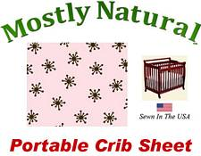 Portable Crib Sheet Fitted Brown Snowflake Pink Cotton Woven