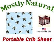 Portable Crib Sheet Fitted Brown Snowflake Blue Cotton Woven