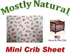 Mini Crib Sheet Fitted Baby Noahs Ark Pink Cotton Percale