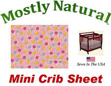 Mini Crib Sheet Fitted Pink Vine Dots Cotton Percale
