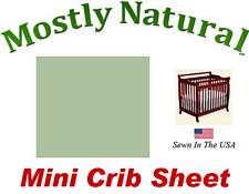 Mini Crib Sheet Fitted Sage Woven Cotton Percale