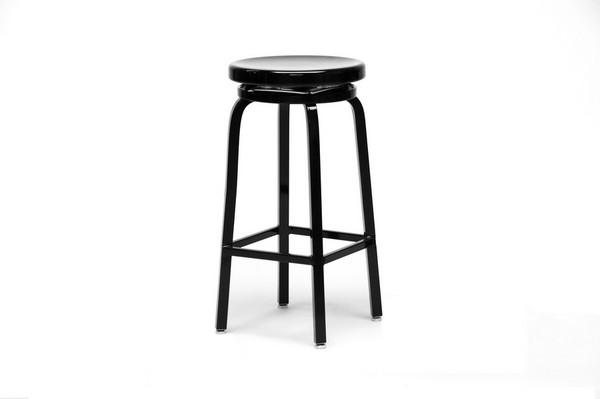 Aluminum Spin Swivel Bar Stool Black Finish Restaurant