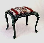 Cast Iron Tapestry Footstool with Green Finish