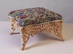 Small Upholstered Cast Iron Tapestry Footstool Angel Flute Bench
