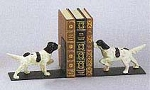 Pointer Dog White Painted Cast Iron Bookends