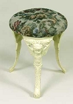 Antique White Angel Upholstered Cast Iron Tapestry Footstool