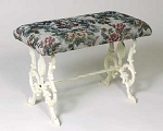 Cast Iron Tapestry Footstool Angel Flute Bench with Antique White Finish