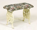 Cast Iron Tapestry Footstool Angel Bench with Antique White Finish