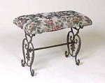 Cast Iron Tapestry Footstool Bench with Rust Finish