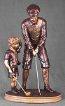 Learning to Golf Exquisite Bronze Figure Sculpture