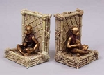 Monkey Meditating Resin Bookends