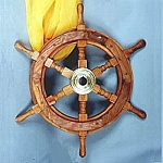 Nautical Decor, Wooden Ship Wheel 24 In. Tall