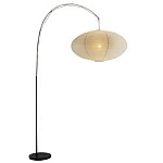 Eclipse Floor Lamp with Black Metal Pole and Base