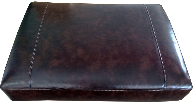 Rectangular sofa cushion cover bonded leather in black for Brown leather sofa cushion covers