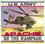Army Apache Helicopter Metal Sign