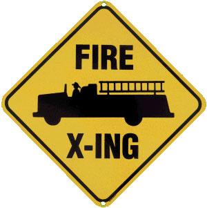 Fire X Ing Metal Sign