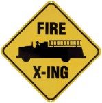 Fire Truck Crossing Metal Sign