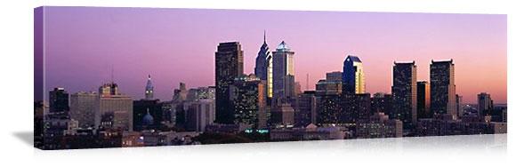 Philadelphia, Pennsylvania Evening Skyline Panorama Picture