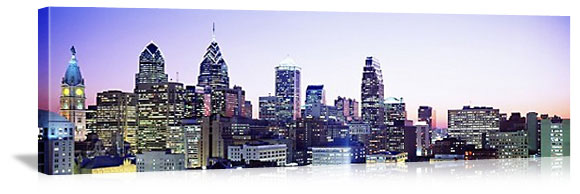 Philadelphia, Pennsylvania Evening Skyline Panorama Picture