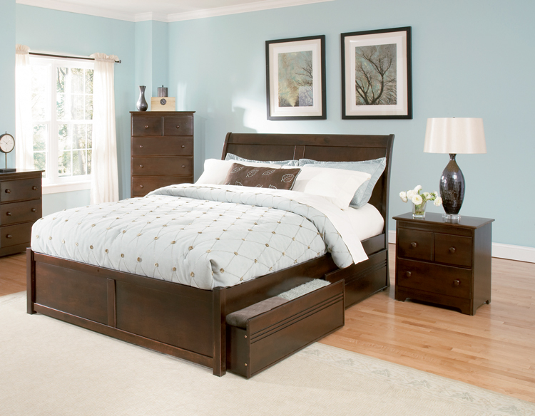 ... bed bordeaux anitque walnut flat panel footboard platform storage bed