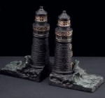 Bronzed Brass Light House Bookends - Set of Two