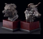 Solid Bronze Stock Market Bookends - Set of Two
